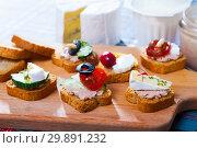 Купить «Assorted homemade canape appetizers», фото № 29891232, снято 23 марта 2019 г. (c) Яков Филимонов / Фотобанк Лори