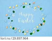 Купить «Happy Easter lettering text in floral composition», фото № 29897964, снято 14 ноября 2018 г. (c) Kira_Yan / Фотобанк Лори