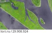 Купить «Aerial top view on estuary straits and islands», видеоролик № 29908924, снято 3 января 2019 г. (c) Михаил Коханчиков / Фотобанк Лори