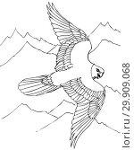 Купить «Ястреб парит над вершинами скал. Иллюстрация для раскраски», иллюстрация № 29909068 (c) Олег Хархан / Фотобанк Лори