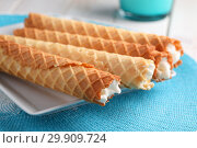 Купить «Gaufres de Montcuq, rolled wafers with cream filling», фото № 29909724, снято 14 января 2019 г. (c) Stockphoto / Фотобанк Лори