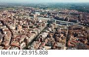 Купить «Aerial view of district of Lleida with modern apartment buildings, Catalonia, Spain», видеоролик № 29915808, снято 25 июля 2018 г. (c) Яков Филимонов / Фотобанк Лори