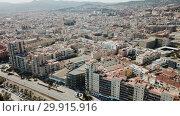 Купить «Aerial view of landscape of Mataro in the Spain.», видеоролик № 29915916, снято 11 июня 2018 г. (c) Яков Филимонов / Фотобанк Лори