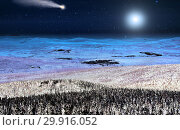 Купить «Moon and flying comet over winter mountains», фото № 29916052, снято 2 марта 2014 г. (c) Евгений Ткачёв / Фотобанк Лори