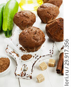 Купить «Chocolate muffins with zucchini», фото № 29917356, снято 23 октября 2018 г. (c) Надежда Мишкова / Фотобанк Лори