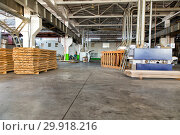 Warehouse of lumber at the woodworking plant. Shop woodworking plant. Стоковое фото, фотограф Евгений Ткачёв / Фотобанк Лори