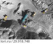Купить «View from above, on the process of sorting coal mined. Open pit mine, Mining coal extractive industry anthracite.», фото № 29918748, снято 26 сентября 2018 г. (c) Сергей Тимофеев / Фотобанк Лори
