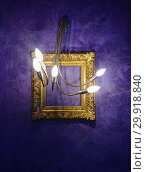 Купить «Modern chandelier and golden picture antique frame», фото № 29918840, снято 30 ноября 2018 г. (c) Kira_Yan / Фотобанк Лори