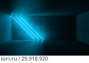 Diagonal cyan neon lights, 3d render. Стоковая иллюстрация, иллюстратор EugeneSergeev / Фотобанк Лори