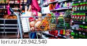 Купить «Various groceries in shopping cart», фото № 29942540, снято 27 июня 2019 г. (c) Wavebreak Media / Фотобанк Лори
