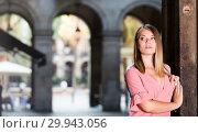 Купить «City portrait of woman near old wall», фото № 29943056, снято 18 ноября 2019 г. (c) Яков Филимонов / Фотобанк Лори