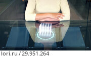 Купить «woman at smart screen and virtual projection», видеоролик № 29951264, снято 20 января 2020 г. (c) Syda Productions / Фотобанк Лори