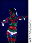 Купить «Woman with beautiful UV bodyart cropped shot», фото № 29959116, снято 25 января 2019 г. (c) Гурьянов Андрей / Фотобанк Лори