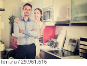 Portrait of young husband and wife which are posing. Стоковое фото, фотограф Яков Филимонов / Фотобанк Лори