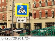 """Купить «Знак """"Пешеходный переход"""" со знаком дополнительной информации """"Слепые пешеходы"""" у Сенного моста. Санкт-Петербург», эксклюзивное фото № 29961724, снято 13 февраля 2019 г. (c) Александр Щепин / Фотобанк Лори"""