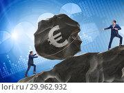 Купить «Trader trading in euro currency», фото № 29962932, снято 21 июля 2019 г. (c) Elnur / Фотобанк Лори