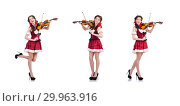 Купить «Woman with violin isolated on white», фото № 29963916, снято 30 января 2013 г. (c) Elnur / Фотобанк Лори