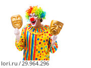 Купить «Male clown isolated on white», фото № 29964296, снято 28 сентября 2018 г. (c) Elnur / Фотобанк Лори