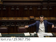 Купить «Italian Minister of Interior and Deputy Prime Minister Matteo Salvini during the Question time at Chamber of Deputies, Rome, ITALY-13-02-2019.», фото № 29967756, снято 13 февраля 2019 г. (c) age Fotostock / Фотобанк Лори