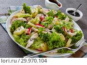 Купить «chicken, lettuce, ananas, radish, cucumber salad», фото № 29970104, снято 12 февраля 2019 г. (c) Oksana Zh / Фотобанк Лори