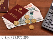 Купить «Пенсионное удостоверение, российский паспорт, калькулятор и деньги», эксклюзивное фото № 29970296, снято 15 февраля 2019 г. (c) Юрий Морозов / Фотобанк Лори