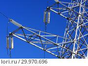 Купить «Опора ЛЭП с высоковольтными проводами на фоне голубого неба», фото № 29970696, снято 30 января 2010 г. (c) Александр Гаценко / Фотобанк Лори