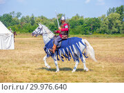 """Купить «Russia, Samara, August, 2018: Group battles of the system on the system, the meeting of the fighters. The governor on horseback. Military history festival """"Military case"""".», фото № 29976640, снято 5 августа 2018 г. (c) Акиньшин Владимир / Фотобанк Лори"""