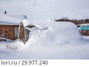 Купить «Заметённая снегом теплица из поликарбоната на даче. Бердск, Новосибирская область, Западная Сибирь, Россия», фото № 29977240, снято 16 февраля 2019 г. (c) Евгений Мухортов / Фотобанк Лори
