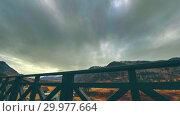 Купить «Timelapse of wooden fence on high terrace at mountain landscape with clouds. Horizontal slider movement», видеоролик № 29977664, снято 17 марта 2018 г. (c) Александр Маркин / Фотобанк Лори
