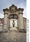 Купить «Старинный салезианский монастырь. Входные ворота 18-го века в стиле барокко. Вена, Австрия.», фото № 29977720, снято 12 июля 2017 г. (c) Bala-Kate / Фотобанк Лори
