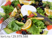 Купить «Salad with salmon, avocado and olives on a white background», фото № 29979588, снято 27 января 2019 г. (c) Марина Володько / Фотобанк Лори