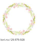 Купить «Spring flower herbs wreath. Flat abstract Vector garden frame, woman day romantic holiday, wedding invitation card decoration element summer floral Illustration isolated white background», иллюстрация № 29979928 (c) Happy Letters / Фотобанк Лори