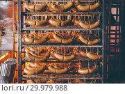 Купить «sausage meat factory», фото № 29979988, снято 7 февраля 2019 г. (c) Mark Agnor / Фотобанк Лори