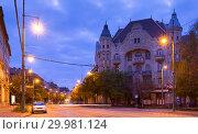 Twilight image with Szeged streets (2017 год). Стоковое фото, фотограф Яков Филимонов / Фотобанк Лори