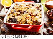 Купить «Chicken thigh baked with rice, eggplant and figs», фото № 29981304, снято 11 марта 2018 г. (c) Надежда Мишкова / Фотобанк Лори