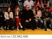 Купить «Celebrities seen at the Lakers game. The Golden State Warriors defeated the Los Angeles Lakers by the final score of 127-123 in overtime at Staples Center...», фото № 29982440, снято 30 ноября 2017 г. (c) age Fotostock / Фотобанк Лори