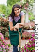 Купить «Woman smiling while leaning on spade», фото № 29997744, снято 24 июля 2012 г. (c) Wavebreak Media / Фотобанк Лори