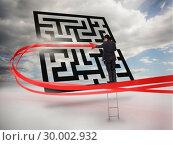 Купить «Businessman on ladder tracing red line through qr code», фото № 30002932, снято 26 июня 2013 г. (c) Wavebreak Media / Фотобанк Лори