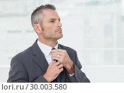 Купить «Serious businessman tightening up his tie», фото № 30003580, снято 7 апреля 2013 г. (c) Wavebreak Media / Фотобанк Лори