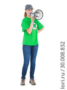 Dynamic pretty environmental activist yelling in a megaphone. Стоковое фото, агентство Wavebreak Media / Фотобанк Лори
