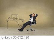 Купить «Businessman sitting cross armed next to painted desk», фото № 30012480, снято 19 августа 2013 г. (c) Wavebreak Media / Фотобанк Лори