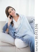 Купить «Pretty casual brown haired woman in white pajamas making a phone call», фото № 30013516, снято 18 июня 2013 г. (c) Wavebreak Media / Фотобанк Лори