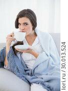 Купить «Peaceful casual brown haired woman in white pajamas drinking coffee», фото № 30013524, снято 18 июня 2013 г. (c) Wavebreak Media / Фотобанк Лори