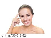 Купить «Laughing young woman touching her forehead», фото № 30013624, снято 19 июня 2013 г. (c) Wavebreak Media / Фотобанк Лори