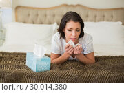 Купить «Casual pretty brown haired woman sneezing in a tissue», фото № 30014380, снято 20 июня 2013 г. (c) Wavebreak Media / Фотобанк Лори