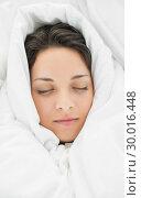 Купить «Peaceful casual brunette wrapped up in her duvet», фото № 30016448, снято 5 июля 2013 г. (c) Wavebreak Media / Фотобанк Лори
