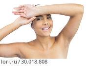 Купить «Happy nude brunette with hairband touching forehead», фото № 30018808, снято 8 мая 2013 г. (c) Wavebreak Media / Фотобанк Лори