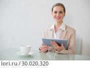 Купить «Lucky stylish businesswoman using tablet», фото № 30020320, снято 30 мая 2013 г. (c) Wavebreak Media / Фотобанк Лори