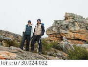 Купить «Couple standing on rocky landscape with trekking poles against clear sky», фото № 30024032, снято 21 августа 2013 г. (c) Wavebreak Media / Фотобанк Лори