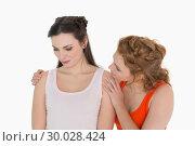 Купить «Young woman consoling female friend», фото № 30028424, снято 16 августа 2013 г. (c) Wavebreak Media / Фотобанк Лори